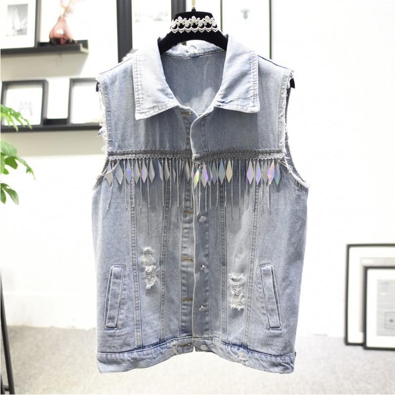 2020 Casual industria maglia del denim coreano Heavy paillettes diamante della catena di estate donne della nappa senza maniche Jean giacca Ropa para mujer