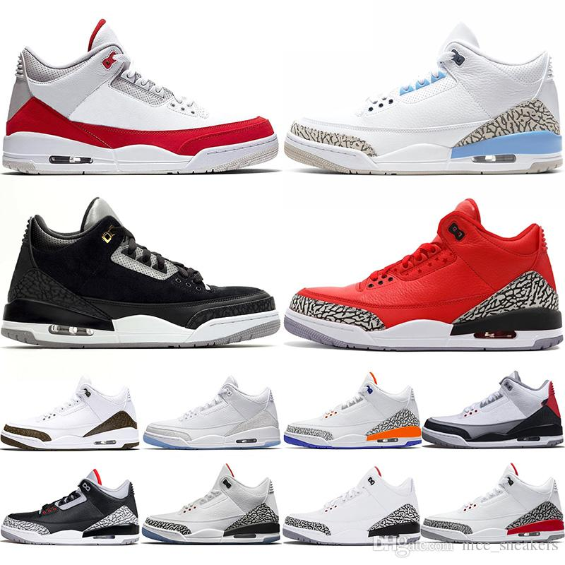 Nike Air Jordan 3 Retro Zapatos de baloncesto de diseño de hombre Katrina Tinker Free Throw Line Cemento de color negro Corea Pure White Fire Red Trainer Sport Sneaker