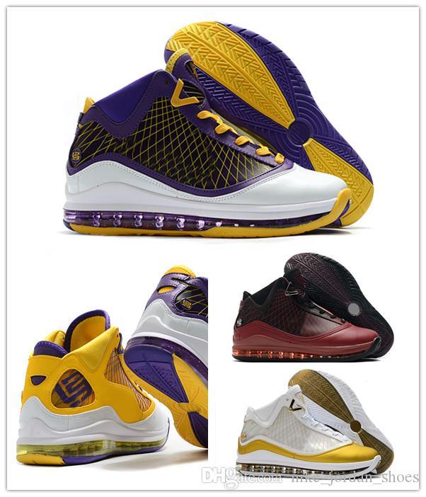 L7 James China Moon Weihnachten Lakers Männer Basketball-Schuhe gute Qualität 7s Team Red Gold-Weiß, Lila, Gelb Mens-athletischen Sport-Turnschuh