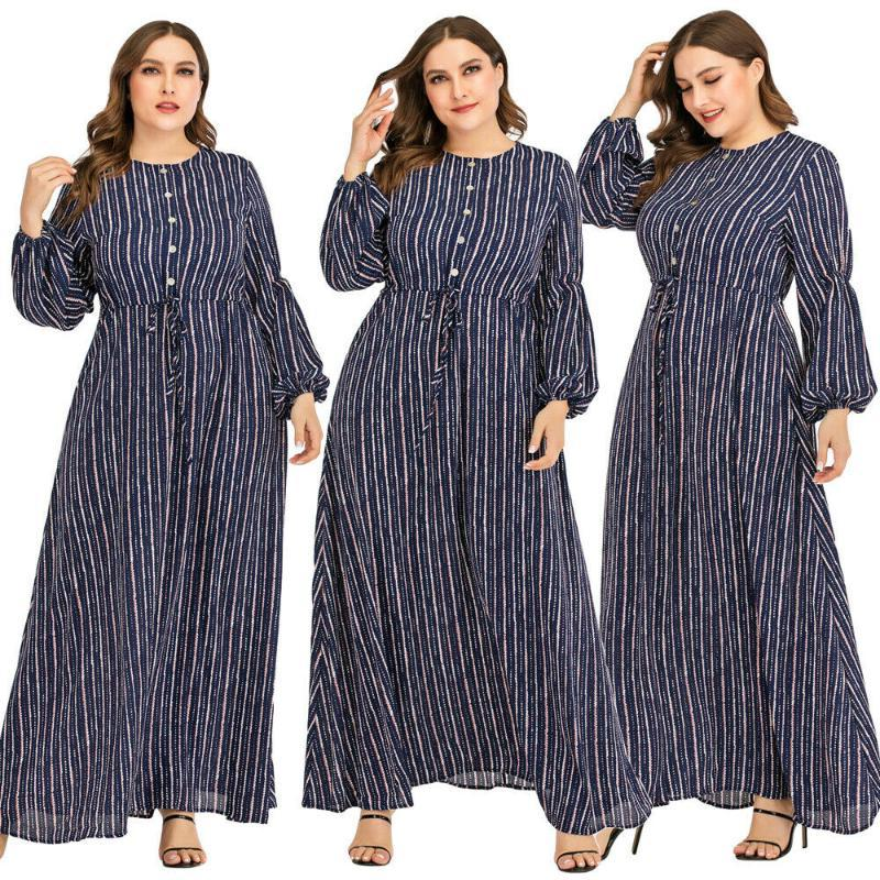 Abaya Women Stripe Long Sleeve Robe Muslim Jilbab Maxi Casual Long Dress Islamic