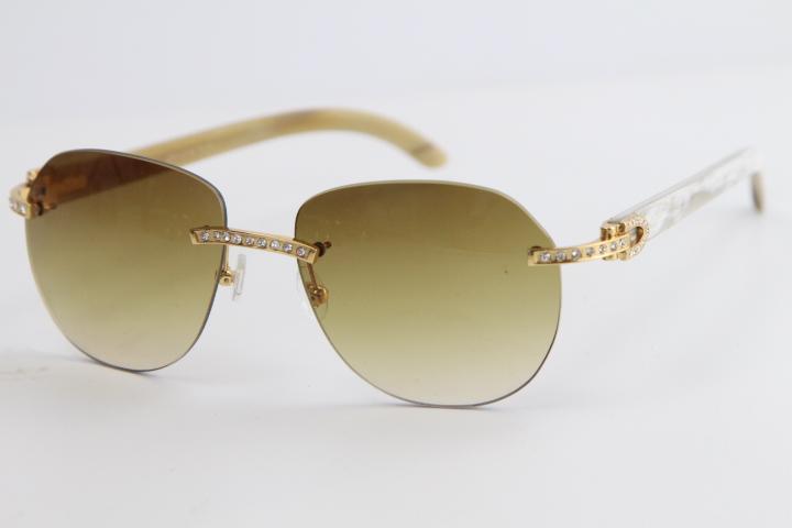 도매 다이아몬드 믹스 원래 버팔로 호른 무테 선글라스 8300829 디자인 클래식 모델 선글라스 고품질 남성과 여성