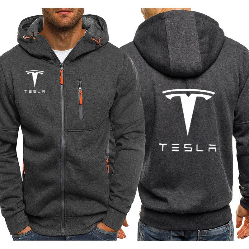 Kapüşonlular Erkekler Tesla Araba Logo Baskı Casual Hip Hop Harajuku Uzun Kol Kapşonlu Sweatshirt Erkek fermuar Ceket Man Hoody Giyim V191111