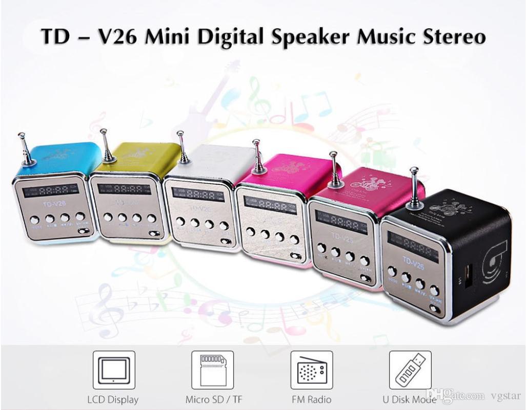 Portable TD-V26 Digital FM Radio Speaker Mini FM Radio Receiver With LCD Stereo Loudspeaker Support Micro TF Card