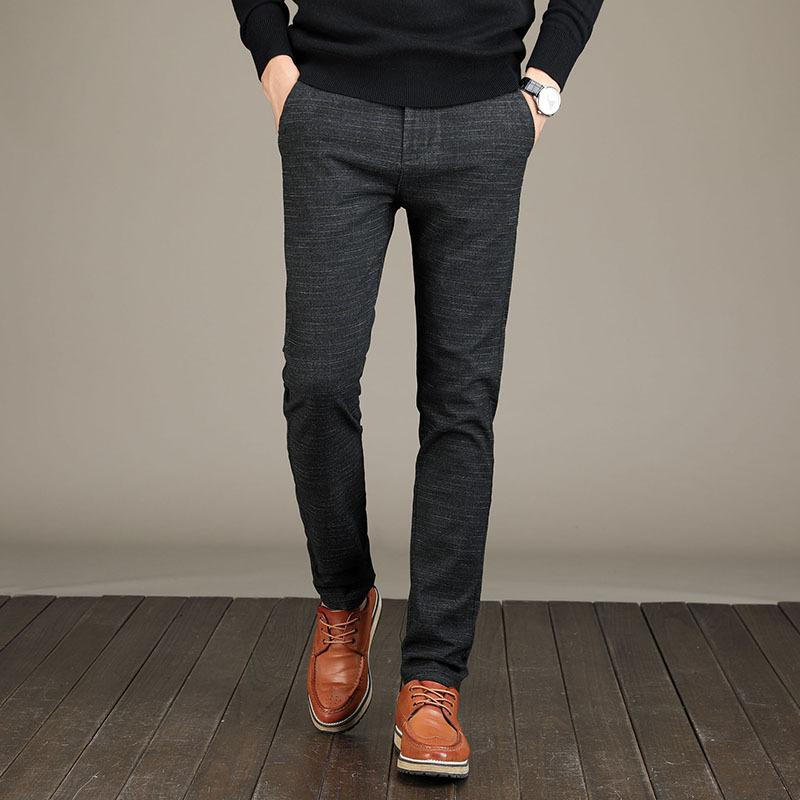 Осень Мужской брюки карандаш брюки повседневные Упругие Полосатый Марк Hombre Длинные брюки Плюс Размер Бизнес Мужчины Тонких моды