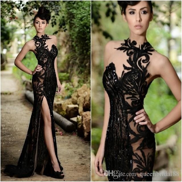 2019 Lace Applique Black Side Split Long Mermaid Prom Dresses New Style Neckline Evening Gowns Cocktail Party Special Occasion Dress
