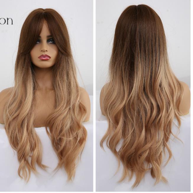 Ombre ondulado peluca Negro Brown Rubia parte media de Cosplay pelucas sintéticas con Bangs para las mujeres pelucas de pelo largo pelo falso