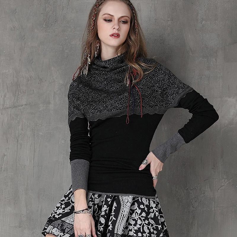 Европейские и американские женщины в 20209 осень и зима Новый тонкий основывая рубашка ретро жаккарда Строчка с длинным рукавом свитера Swea