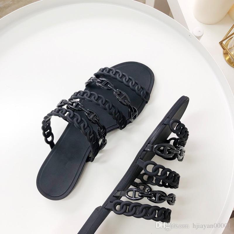 Haute qualité luxe designer dames été noir blanc caoutchouc chaussons plage slide mode wear sandales chaussures d'intérieur taille 35-40