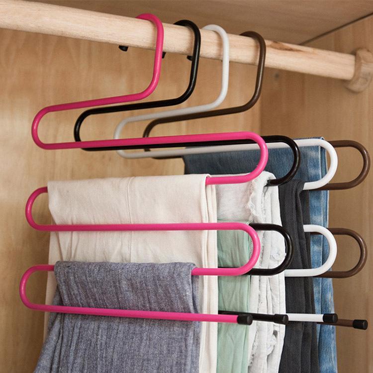 5 طبقات S الشكل شماعات متعددة الوظائف غير زلة الملبس الشماعات وشاح بانت التخزين المعلقون ثخن الحديد الملابس تخزين الرف DBC VT0870