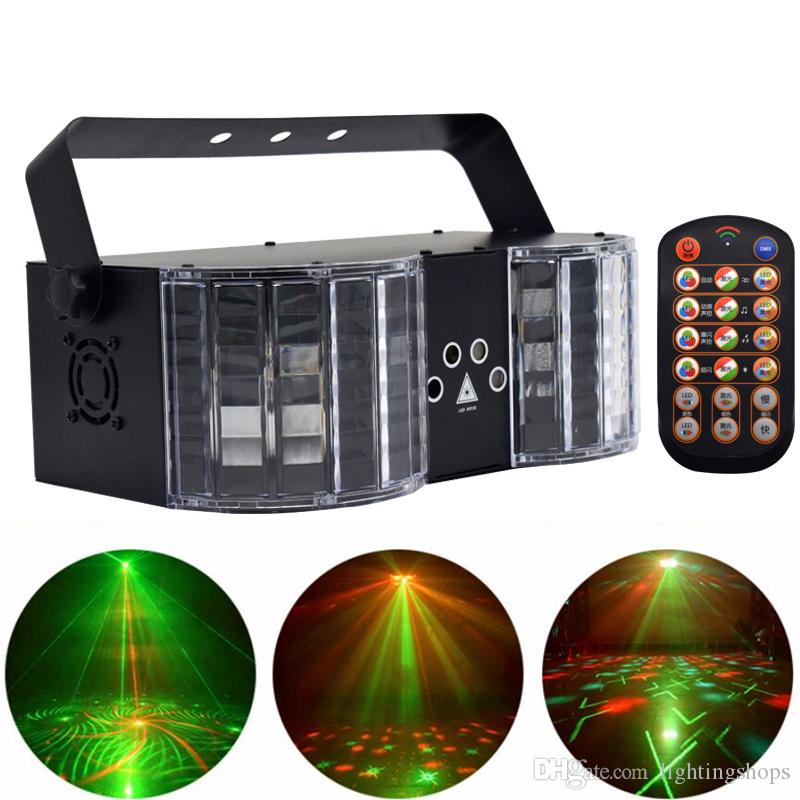 Stage Lights LED Laser Disco Light DMX Controller DJ Party Lights Double-Mirror 4-Hole Image Light for Birthday Bar Decoration Clubs