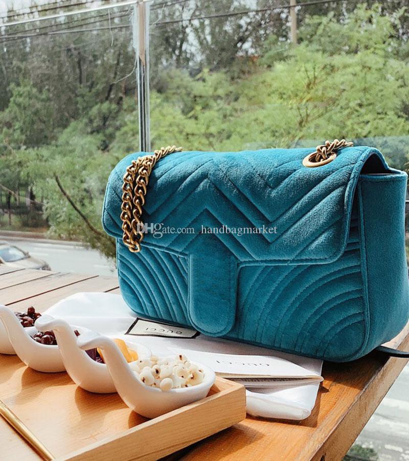 2019 vendita CALDA marca famosa delle donne di lusso del progettista delle borse del sacchetto crossbody bag donne borse a tracolla delle catene di lusso velluto a coste borse borse 26 * 16cm