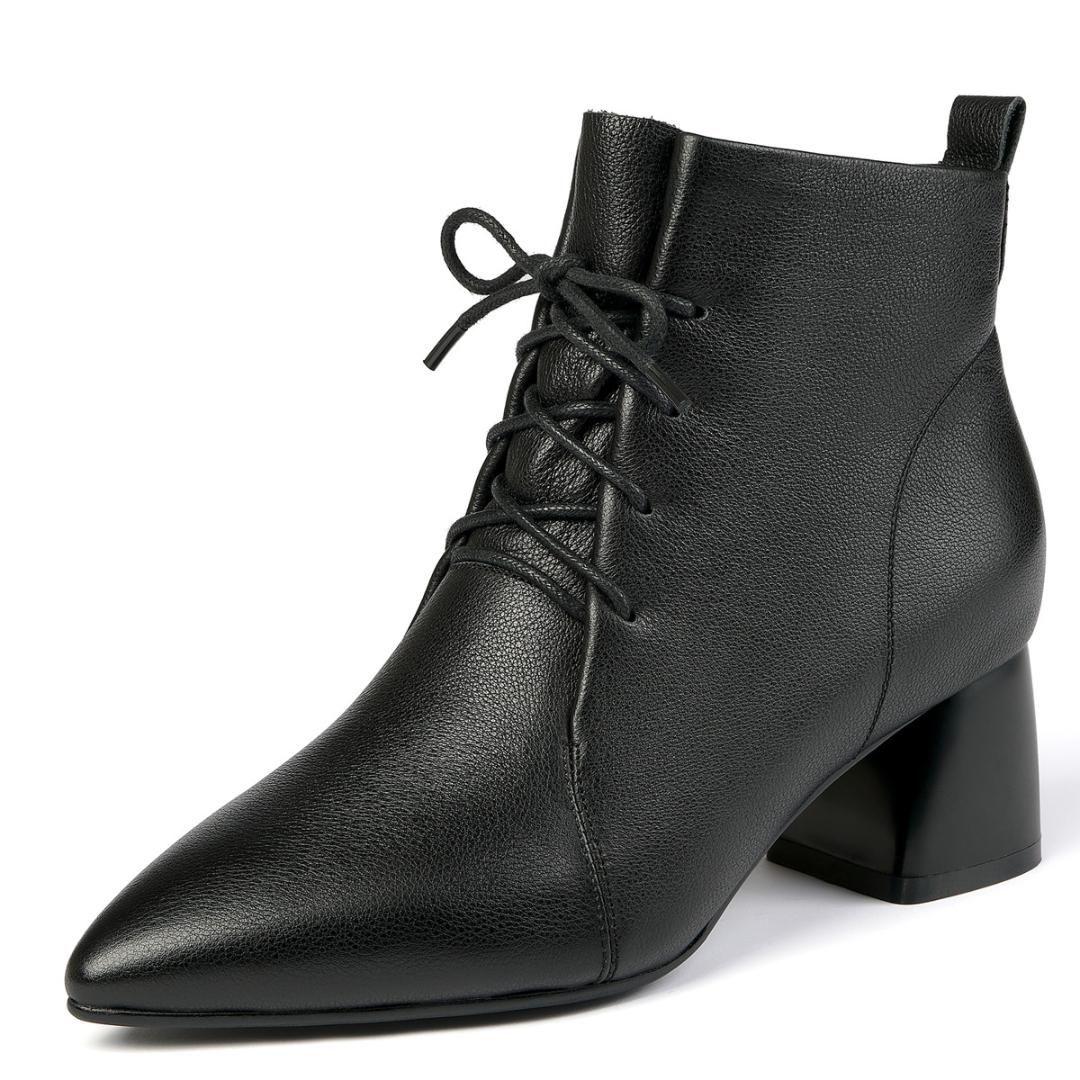 Plus-Größe 34-41 Frauen aus echtem Leder starke Absatzknöchelaufladungen schnüren-up Herbst kurze Booties spitze Zehe eleganter Damen Schuh
