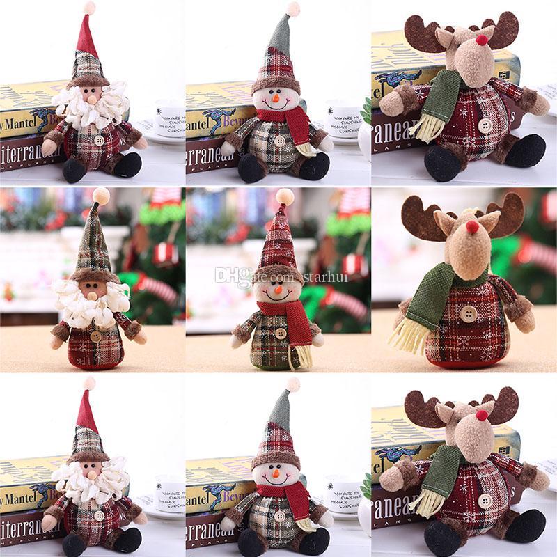 2020 Arbre de Noël Ornement Cartoon Doll 28 * Arbre de Noël 13cmSnowflake Plaid Doll Ornements Décoration de Noël Souvenirs WX9-1670