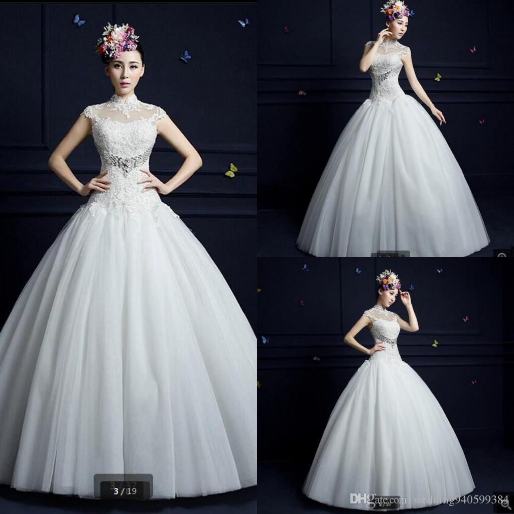 Robe de mariage 2019 ball gown wedding dress white lace appliques wedding dresses cap sleeve hollow back sexy corset bridal gown hot sale