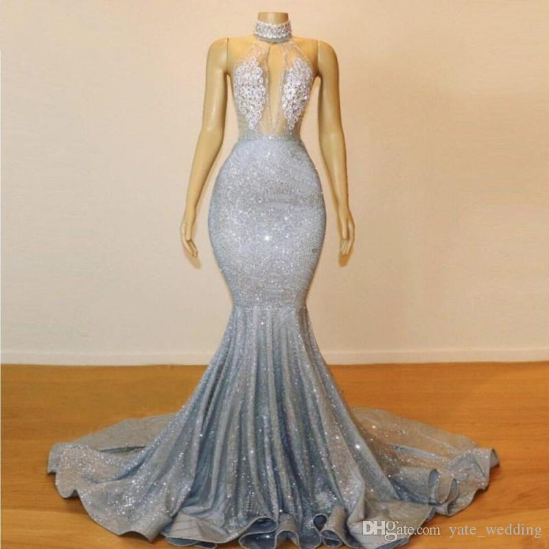 Sexy Sequins Mermaid Prom Dresses High Neck Lace Appliques Fashion Formal Evening Dresses Ruffles Sweep Train Cocktail Party Gowns Hot Sale