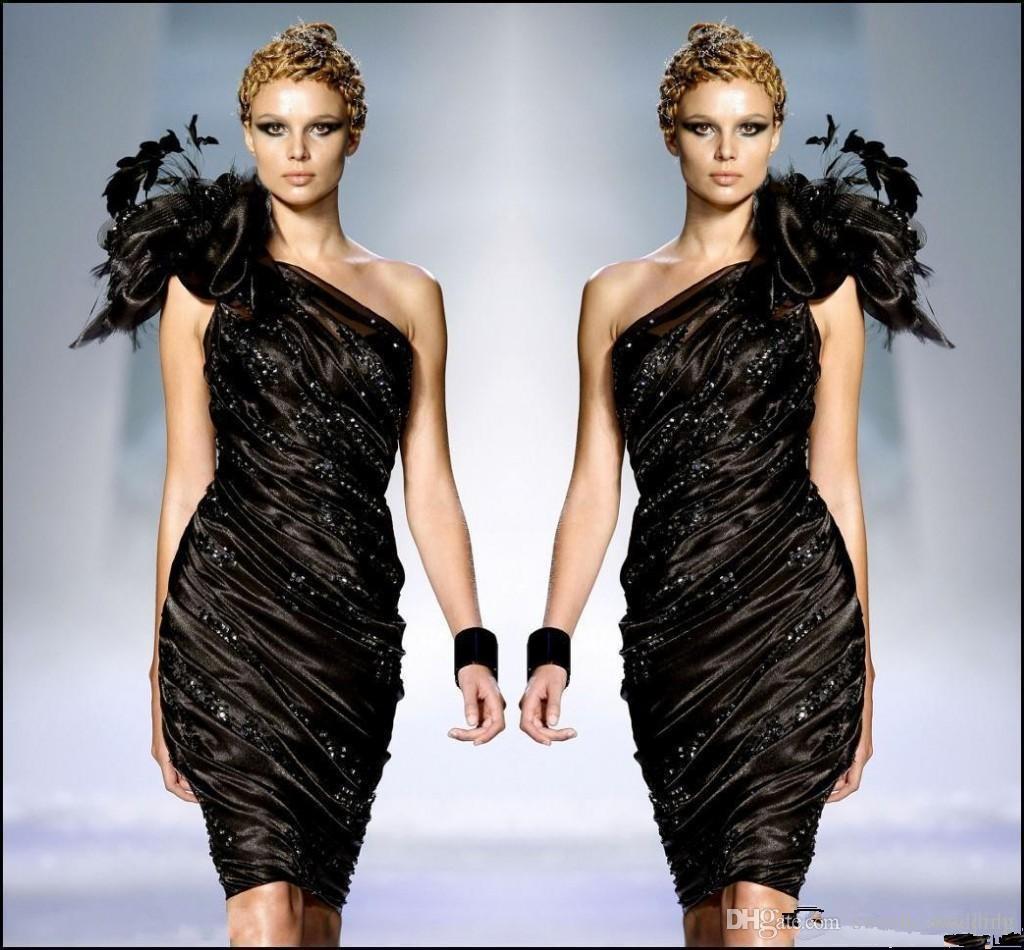 Zuhair Murad Little Black Formelle Cocktailkleider Eine Schulter Blume Federn Prom Party Kleid Perlen Rüschenkleid Sexy Club Billig
