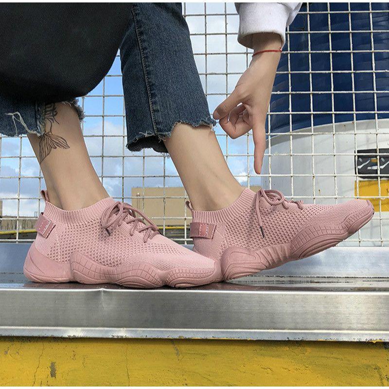 HEFLASHOR Frauen Mesh-Lace-Up Solide Flache Plattform Shallow Stretchstof Knited Frühlings-Keil-Schuhe für Frauen zapatos de mujer Y200424