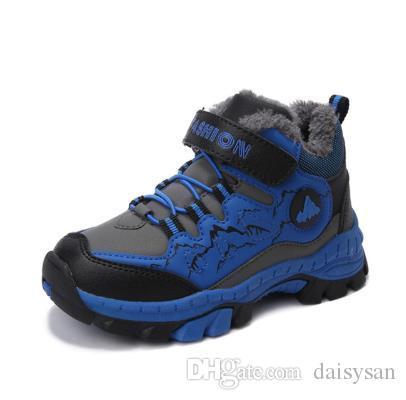 Meninos de inverno Botas de Neve À Prova D 'Água Tornozelo Crianças Botas Liso Quente Forro de Pelúcia Sapatos de Inverno das Crianças Botas Para Meninos