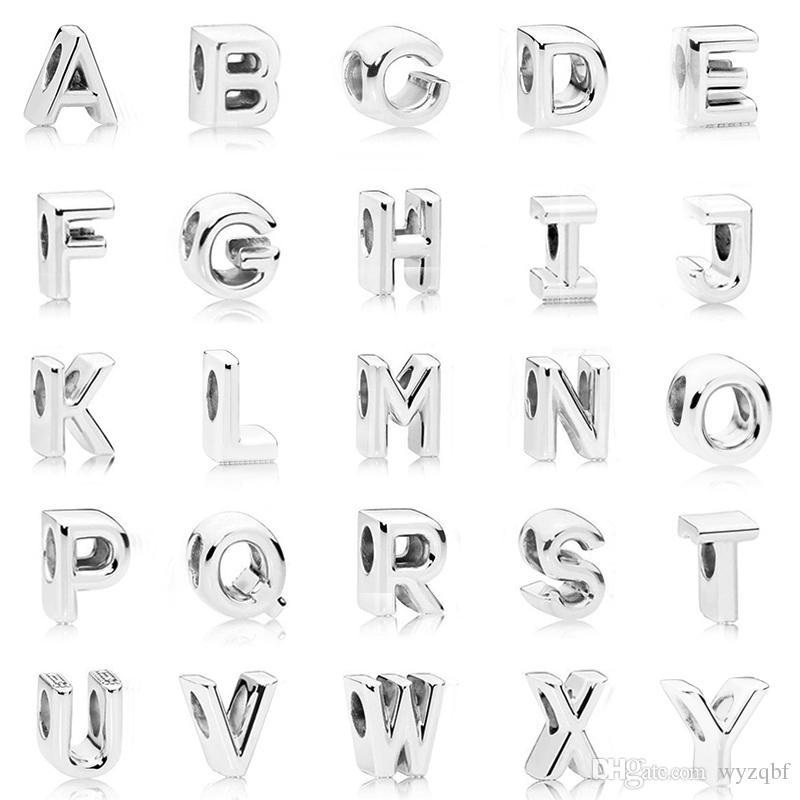 Стерлингового серебра 925 Начальная буква алфавита A-Z бисера Fit оригинальный Pandora подвески браслет для женщин Diy ювелирных изделий