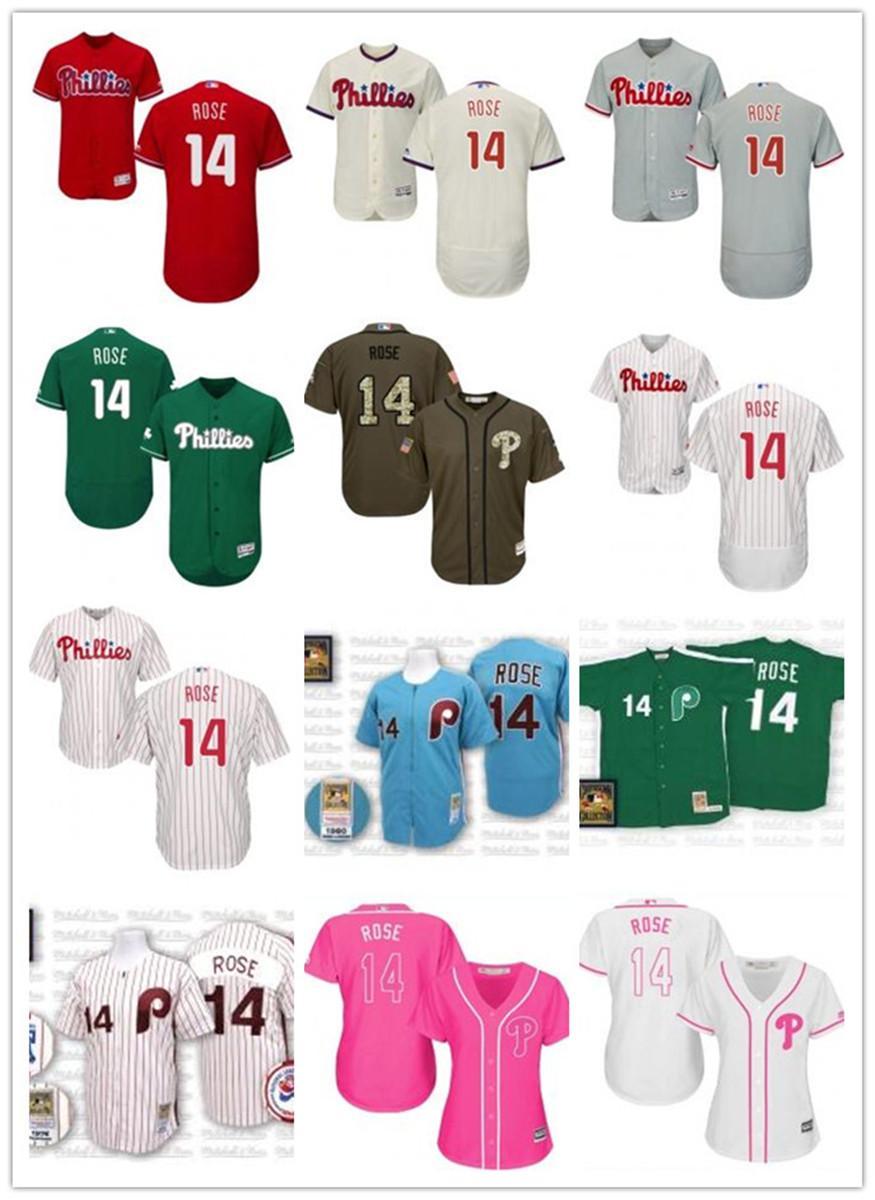 freies Schiff individuelle Philadelphia Philadelphia Phillies 14 Pete Rose T-Shirt, Baseball Phil Wear Männer Frauen Jugend Trikots