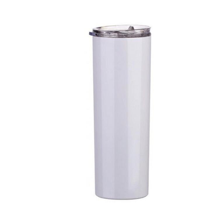Sublimação em branco Tumbler DIY canecas Calor 20oz de aço inoxidável de aço inoxidável encaixotel de tumblers straight copos de cerveja branca Caneca de café em stock WY742-1