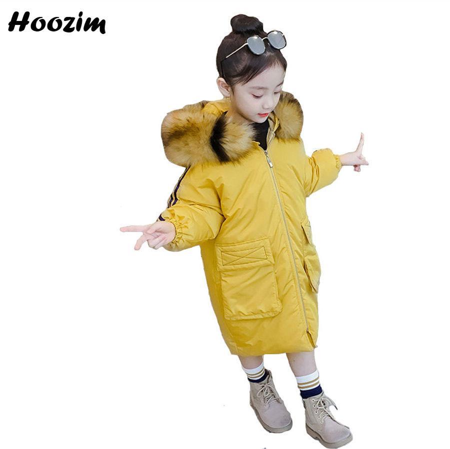 big discount of 2019 enjoy discount price on feet at Fashion Yellow Faux Fur Cap Parka Children Winter Long Jacket For Girls 7 8  9 10 11 Years European Kids Outerwear Coat For Girls Girls Pink Coat ...