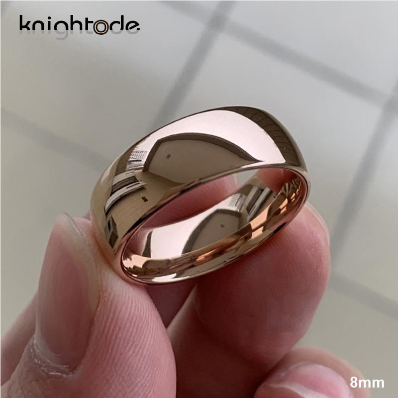 Anello classico in oro rosa di tungsteno di nozze per le donne gli uomini carburo di tungsteno fidanzamento Banda Dome finitura lucida 8 millimetri 6 millimetri Anello CX200608