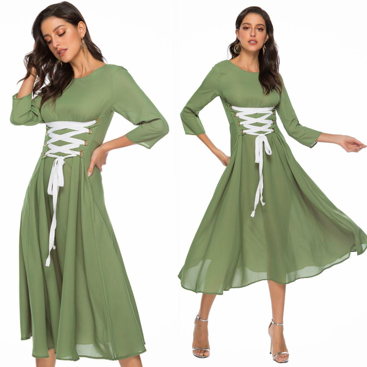 Frauen kleid olivgrün rundhals einzigartige bandage casual midi mode  charmante party abend damen kleider 17