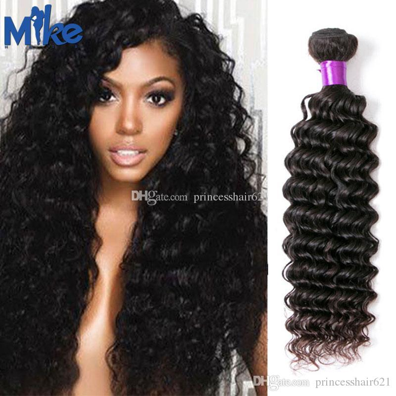 MikeHAIR Malaysian Remy Human Hair 1 Piece Brazilian Hair Deep Wave Curly Weave Natural Color Peruvian Indian Hair Bundles for africa women
