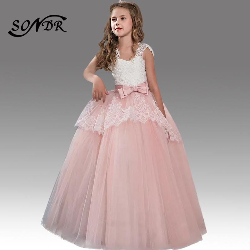 Lace Ruched Bola Princesa elegante vestidos HT203 Spaghetti Strap Meninas Pageant Vestidos Bow andar de comprimento Flower Girl Dress 2020