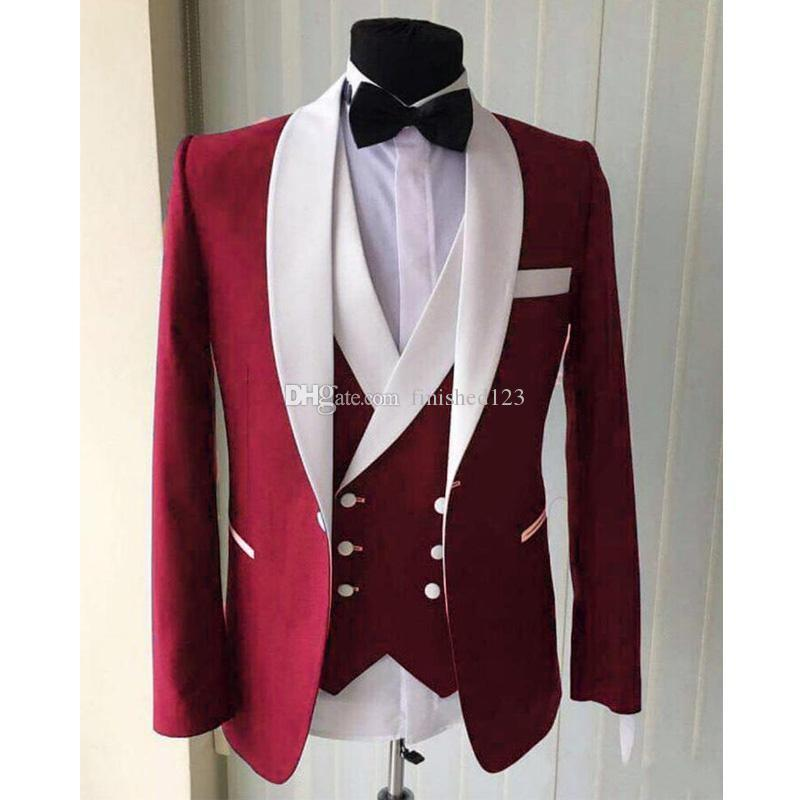 High Quality One Button Red Groom Tuxedos Shawl Lapel Men Suits Wedding/Prom/Dinner Best Man Blazer (Jacket+Pants+Vest+Tie) W387