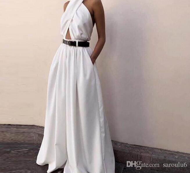 2020 Nouveau style femmes sexy manches Halter deux pièces Halter Jumpsuit Cool White Vêtements Haute Mode
