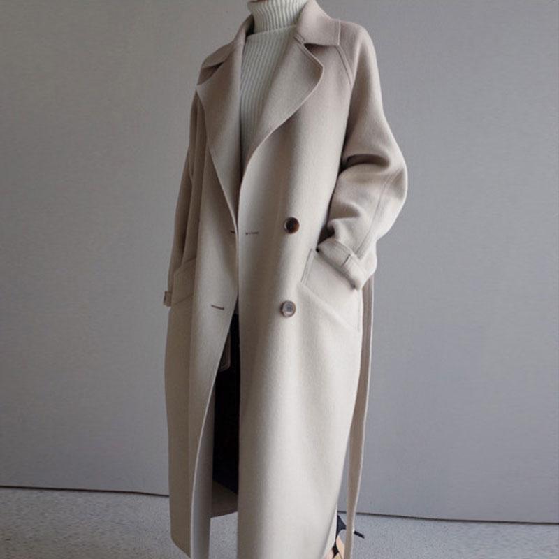 겨울 코트 여성 와이드 라펠 벨트 포켓 울 블렌드 코트 오버 사이즈 롱 트렌치 착실히 보내다 울 여성