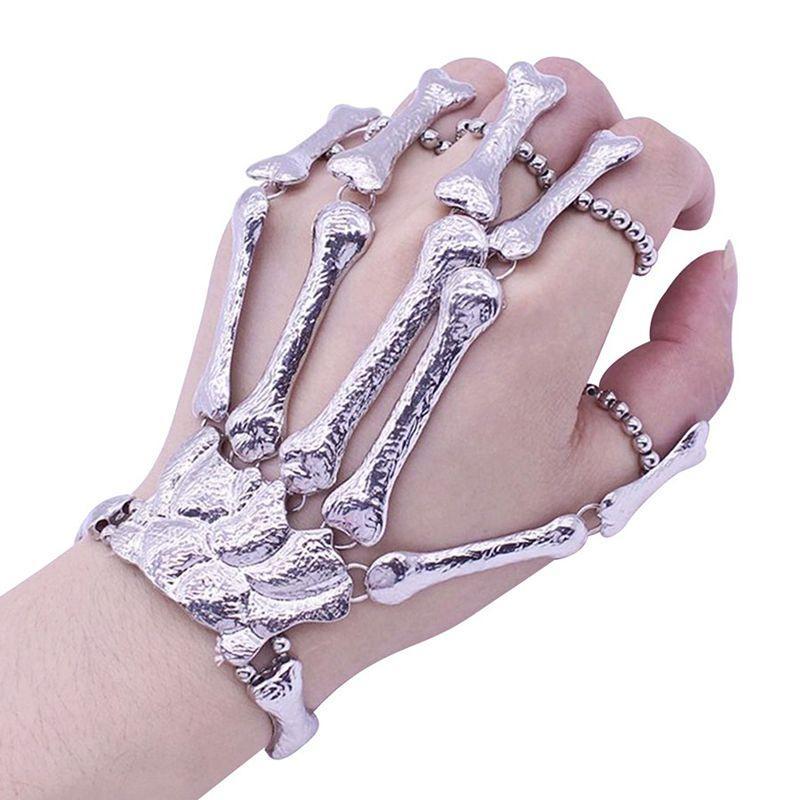 Halloween Props il regalo di divertimento notturno Party punk Dito della mano Dito braccialetto gotico di scheletro del cranio Bone mano decorazione del partito del braccialetto