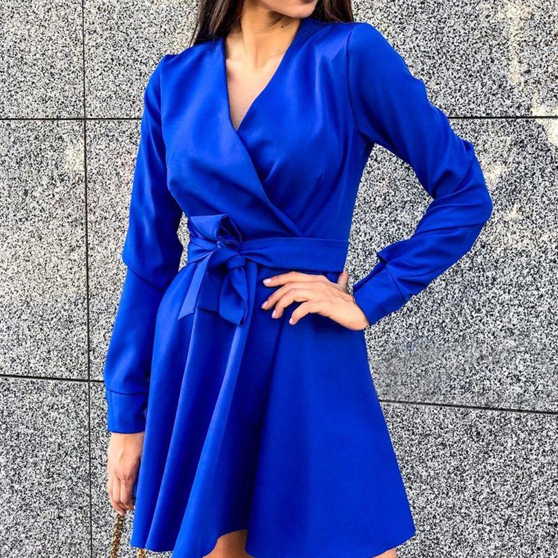 Mujeres fashas arco corbata una línea fiesta vestido de manga larga con cuello en v elegante vestido sexy 2019 nueva moda invierno mini