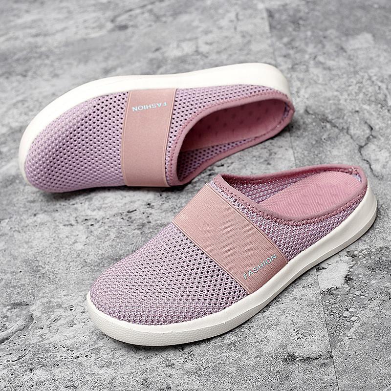Moda Kadınlar Üzerinde Kayma Rahat Ayakkabılar Nefes Yaz Flats Ayakkabı Örgü Kadın Loafer'lar Işık Yürüyüş Tekne Sneakers Kadın