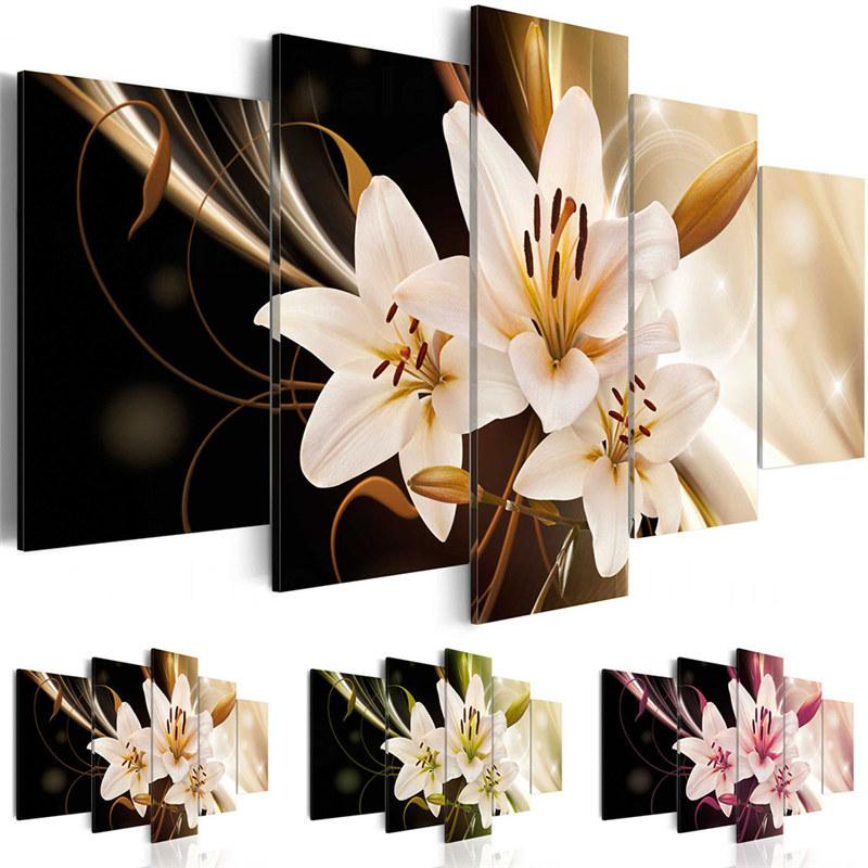 5 Pieces Wall Art Painting Lily Flower Picture Print on Canvas Hd Printing Living Room Decor Unframed