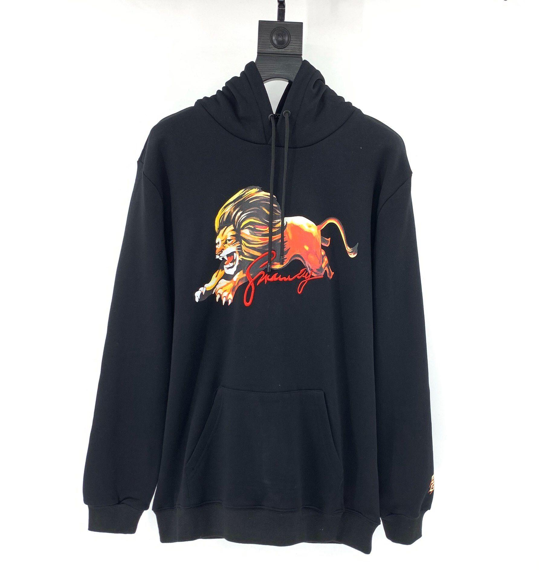 2019 الأزياء الشتوية مقنعين البلوز الأسود الأسد الملك مطبوعة عارضة سوياتشيرتس هوديي البلوز كم طويل ملابس للرجال