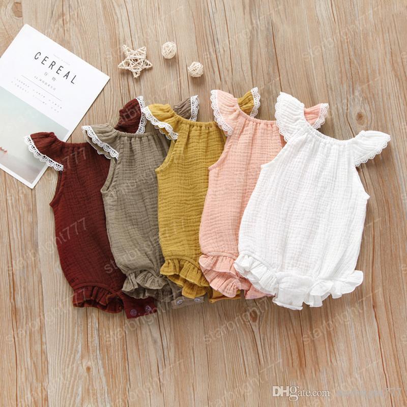 Mamelucos de los bebés Solid 5 diseño sin mangas del algodón del verano volante Doble Mono niños atan Diseñador Onesies niñas Trajes 0-3T