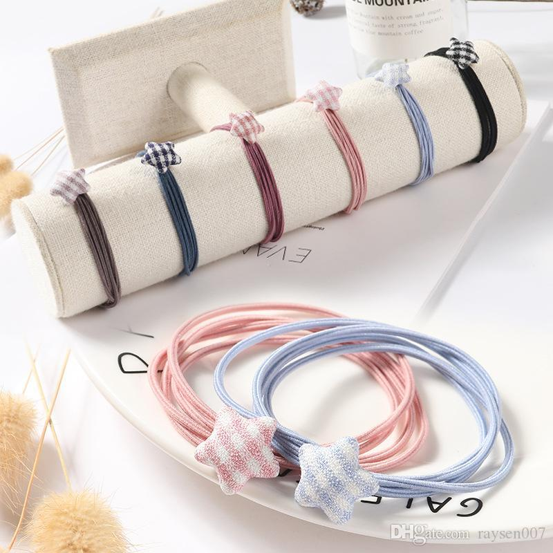 Sweet five-pointed star rubber band hair rope Headwear Girl Elastic Hair Band Ponytail Rope Girl Hair Jewelry