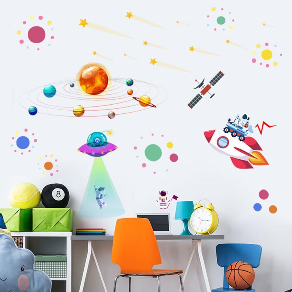 Etiqueta da parede dos desenhos animados do Sistema Solar astronauta adesivos de parede jardim de infância decorativa Mural Art Mural vivo Eco-friendly 19DEC14