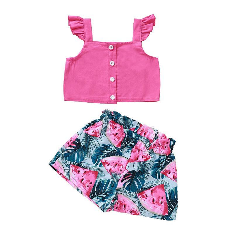Plaza de la manga Vuelo de la muchacha Collar sólido de color Tops y pantalones cortos Set del algodón del bebé del botón camiseta y pantalones de traje de impresión sandía