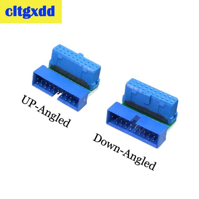 cltgxdd مكتب الكمبيوتر USB 3.0 20PIN ذكر إلى أنثى تمديد محول بزاوية 90 درجة عن اللوحة اللوحة موصل مقبس