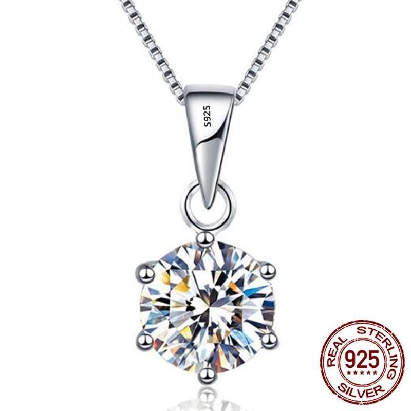 100% Real 925 Solid Silver Pendant Necklace Round Luxury 8mm 2.0ct Zirconia Diamond Fine Jewelry For Women Gift