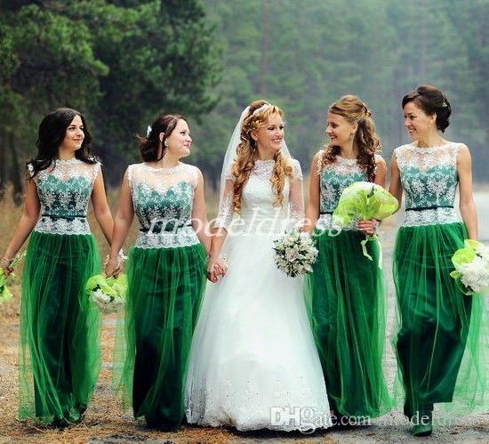 Emerald Green Bridesmaid Dresses 2019 See Through Floor Length Lace Sash Garden Country Beach Wedding Guest Gowns Maid Of Honor Dress Cheap