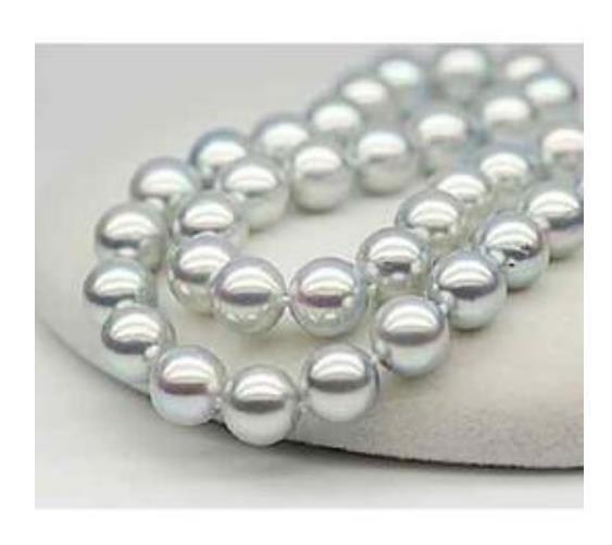10-11mm Collana di perle grigie rotonde del Mare del Sud grigio Collana di perle da 18 pollici con chiusura in oro 14 kt
