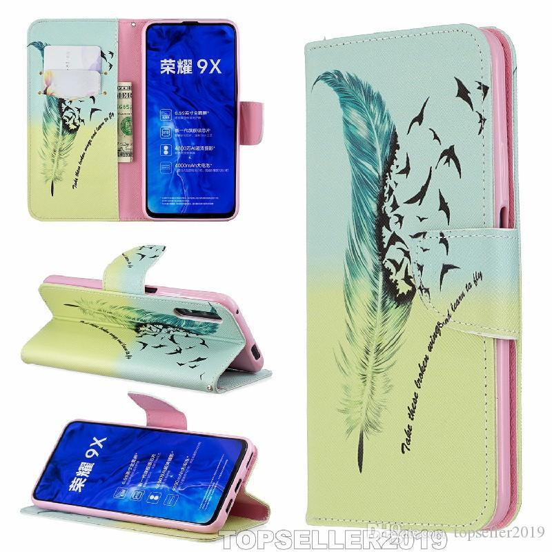 Pour Huawei Honor 9X stand design Wallet Designer Style coloré Housse en cuir téléphone Housse B375