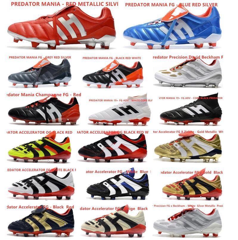 Sıcak Classics Predator Hızlandırıcı Elektrik Hassas MANİ FG Beckham DB Zidane ZZ 1998 Erkekler futbol ayakkabıları krampon futbol botları Boyut 39-45