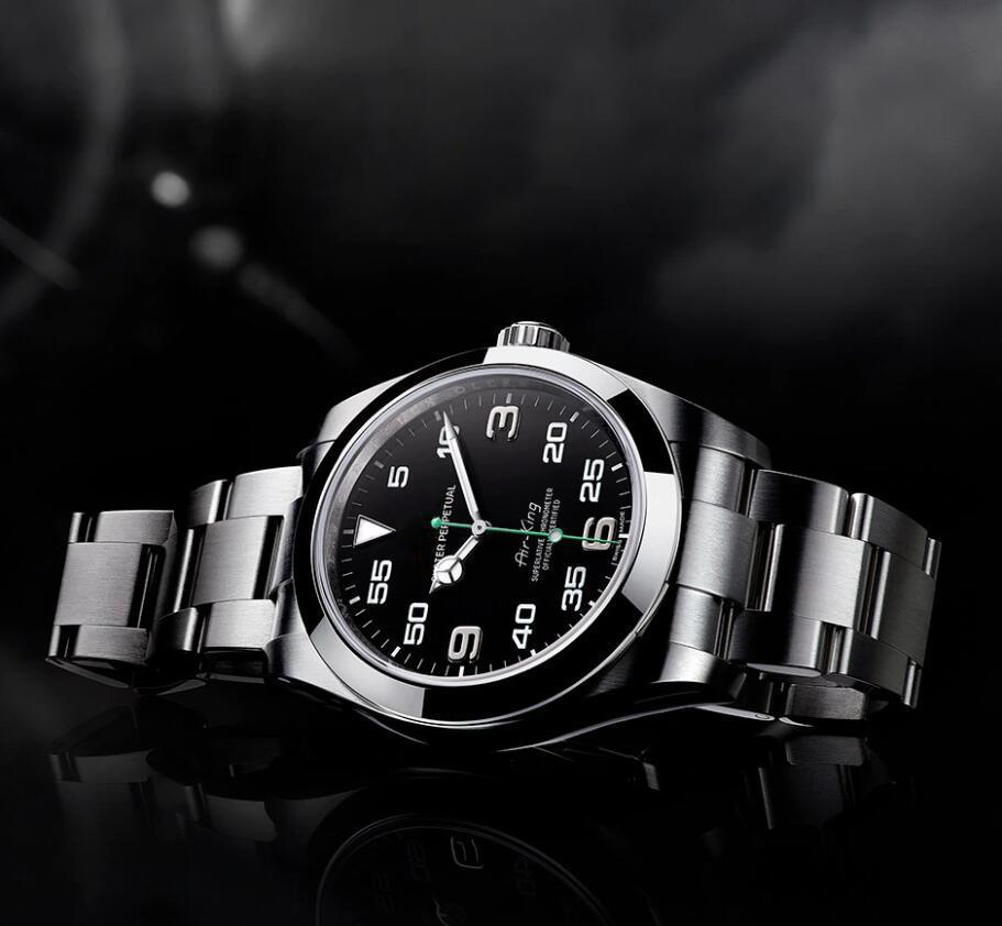 بيع المصنع مباشرة 116900 40MM الهواء الأسود الهاتفي شاب أزياء الرجال ووتش حركة التلقائي ولي تاج الرجال ساعات المعصم