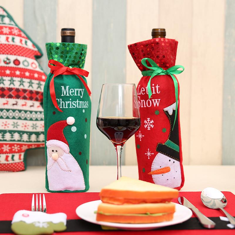 2Colors Rise Christmas Decorations for Home Santa Claus Wine Bottle Cover Santa Snowman With Sequins Gift Xmas New Year